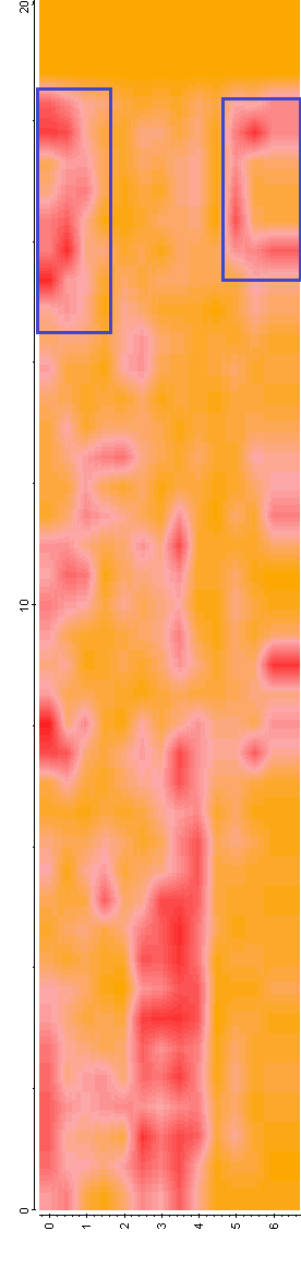 Figure 6. Timeslices of GPR data at Jesuit's Church. A) 10-14ns