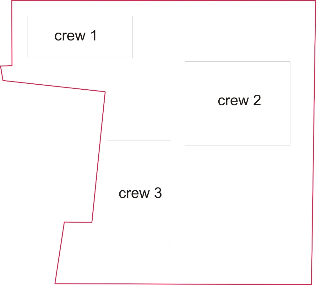The location of the crews